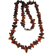 "Necklace 37"" Extra Chunky Dark Honey Cognac Genuine Amber Long"