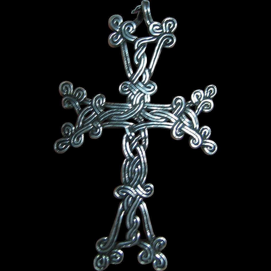 Big Sterling Pendant / Necklace  925 Silver Fine Intricate Celtic Knot Cross