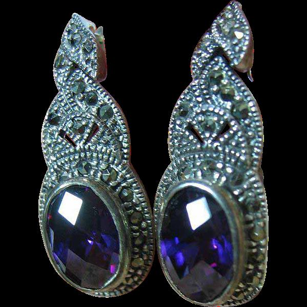 Sterling Silver 925 Dressy Multi-Facited Purple Marcasite Dangle Pierced Post Earrings