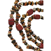 X-Long Fall Colors Necklace Red Jasper, Carnelian, Brown Genuine Stones