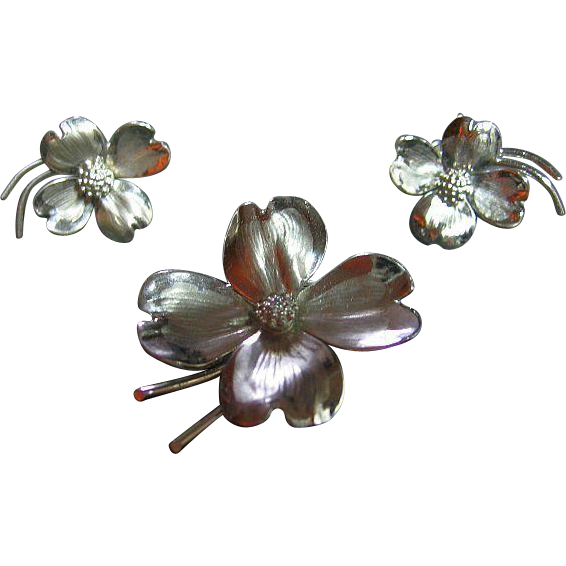 Signed HSB Vintage 925 Sterling Silver Dainty Dogwood Pin & Earrings Set