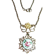 Vintage Rose Guilloche & Pearls Gold Tone Pendant/Necklace