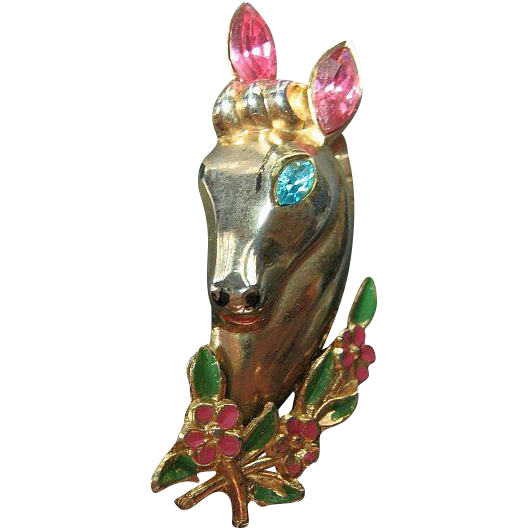 Signed Coro Vintage Figural Horse Pin/Brooch 1940's Victor Rhinestone & Enamel