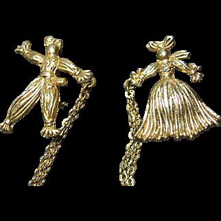 Vintage Pom Pom / Rag Dolls Chatelaine Gold Tone Figural Pins