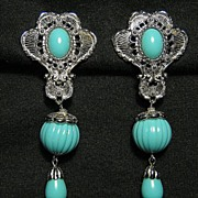 Silver Tone Clip On Earrings Long Signed Barrera Faux Turquoise In Box
