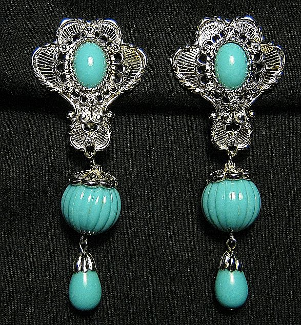 Silver Tone Clips Earrings Long Signed Barrera Faux Turquoise In Box