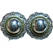 Vintage Mexican 925 Sterling Silver & Brass Puffed Concho Style Clip On Earrings