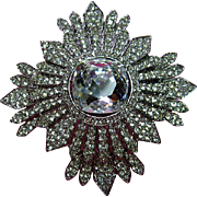 Signed Kenneth Lane KJL Big Awesome Clear Rhinestone Maltese Cross Brooch / Pin