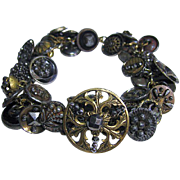 Old Unique Button Bracelet Interesting Steel Cut Beads