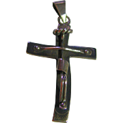 Modern Cross Pendant Jesus on Sterling Silver 925 Vintage Taxco Mexico Signed