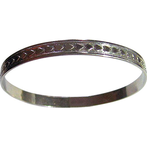 925 Sterling Silver Signed Creed Hearts Bangle Narrow Bracelet