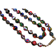 Vintage Long Murano Venetian Italy Colorful Millefiori Bead Necklace