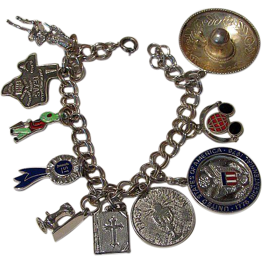 Sterling Silver 925 Link Small Size Bracelet & 10 Charms