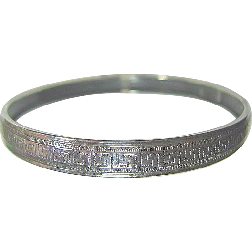 Vintage Sterling 925 Silver Greek Key Bangle Bracelet