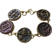 Old Vintage Brass Buttons Flowers Bracelet