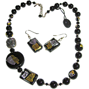 Murano Glass Venetian Italian Black Gold/Silver Foil Beads Necklace & Pierced Earrings Set