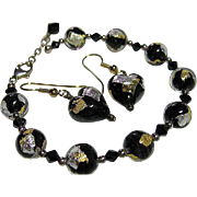 Vintage Murano Italian Venetian Bracelet & Pierced Earrings Black,Clear, Gold/Silver Foil Bead