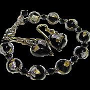 Vintage Murano Italian Venetian Black,Clear, Gold/Silver Foil Bead Bracelet & Pierced Earrings