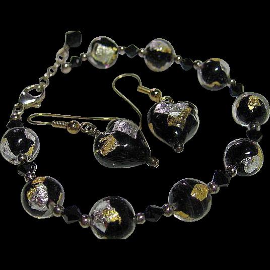 Vintage Murano Italian Venetian Bracelet & Pierced Earrings Black,Clear, Gold/Silver Foil Bead