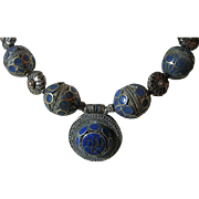 Vintage Chunky Ethnic Tribal Lapis Runway Showy Big Necklace