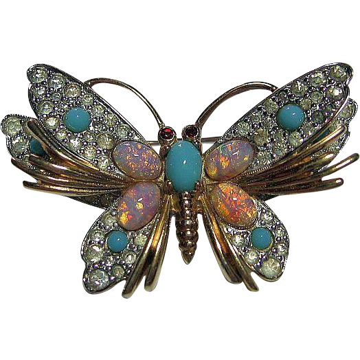 Signed Jomaz Vintage Rhinestone Faux Opal & Turquoise Butterfly Pin/Brooch