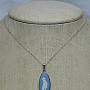 Blue & White Wedgwood Jasper Cameo 925 Sterling Silver Pendant/Necklace