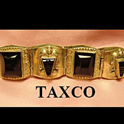 Vintage 40's Bracelet MexicoTaxco Black Tribal Faces Silver Tone