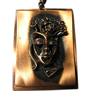 Whimsical & Unique Showy Copper Pendant/Necklace 3-D Lady Head & Flowers