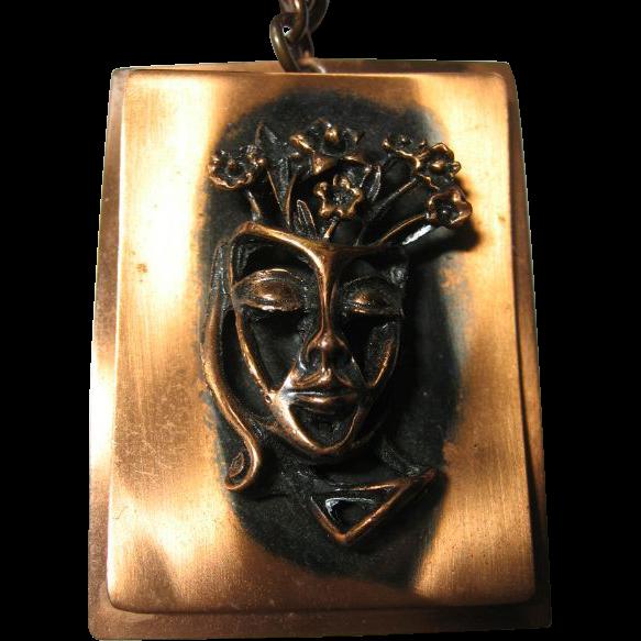 Whimsical & Unique Showy Copper Pendant/Necklace 3-D Lady Head & Flowers