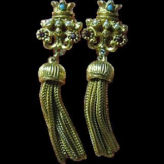 Crown & Tassel Clips Earrings Vintage Signed Florenza