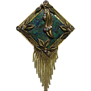 Vintage Signed Marena Brooch/Pin Germany Tassels Blue/Green Stone & AB Crystals