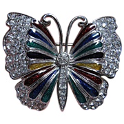 Multi-Colored Enamel & Clear Rhinestone Butterfly Brooch/Pin Silver Tone