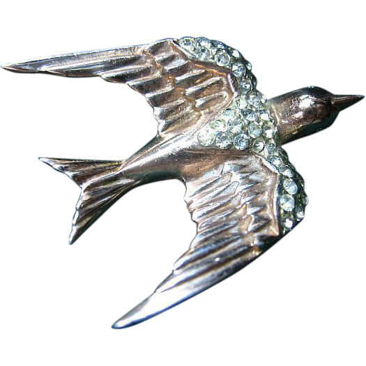 Vintage 40's Corocraft Sterling Swallow Bird Pin/Brooch
