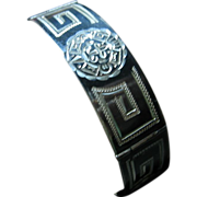 Vintage Mexican Sterling Silver 925 Niello Art  Deco Style Face Bracelet