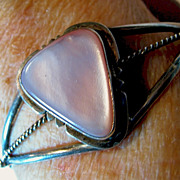 Bracelet Pink Mother of Pearl & Sterling Silver 925 Open Cuff
