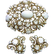 Showy White Milk Glass & Gold Tone Scroll/Filigree Brooch/Pin & Clips Earrings Vintage Set