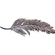 Nolan Miller Pave' Rhinestone Feather Leaf Pin/Brooch Bridal Silver Tone w/Box