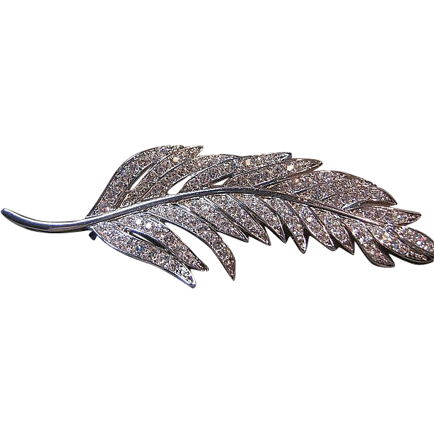 Nolan Miller Pin/Brooch Rhinestone Feather Leaf  Bridal Silver Tone w/Box