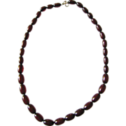 Old Cherry Faux Amber Bakelite Bead Necklace On Chain