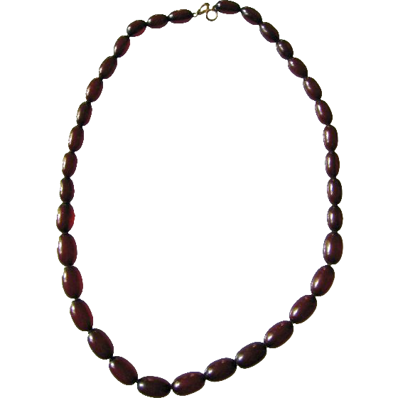 Old Vintage Cherry Amber Bakelite Bead Necklace On Chain