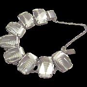 Vintage Sterling Silver 925 Bracelet Quartz Rock Crystal Asian Carved Pagoda