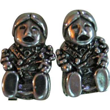 Signed Carol Felley Sterling 925 Silver Southwestern Storyteller Clip-On Earrings