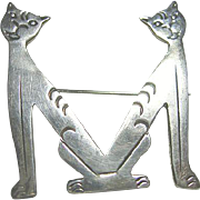 Vintage Signed Sterling Silver 925 Mexico Taxco 2 Cats Brooch/Pin Initial M