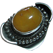 Vintage Mod Sterling Silver 925 Baltic Egg Yolk Amber Ring Size 10