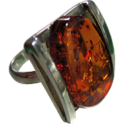 Mod Ring Vintage Sterling Silver 925 Free Form Baltic Amber w/Bug Parts Size 8 1/2