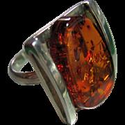 Mod Vintage Sterling Silver 925 Free Form Amber w/Bug Parts Size 8 1/2