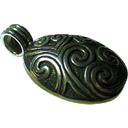 Vintage Sterling Silver 925 Showy Oval Locket Pendant