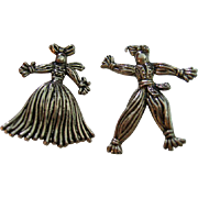 Vintage Rag Doll Scatter Pins Silver Tone Pot Metal