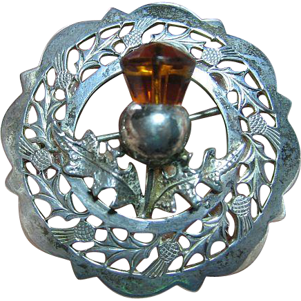 Vintage Sterling Silver Thistle Scotland Glass Citrine Brooch/Pin