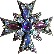 Signed Florenza Vintage Maltese Cross Purple,Blue,Lavender, AB Brooch Pin Pendant